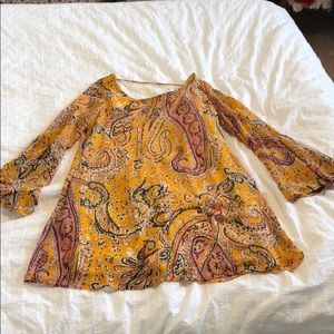 Yellow mini dress with bell sleeves. Like new !